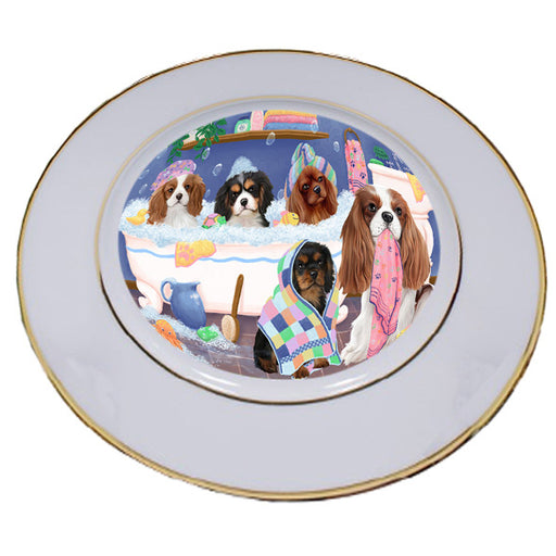 Rub A Dub Dogs In A Tub Cavalier King Charles Spaniels Dog Porcelain Plate PLT55127
