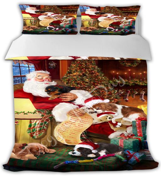 Santa Sleeping with Cavalier King Charles Spaniel Dogs Bed Duvet Cover DVTCVR49561
