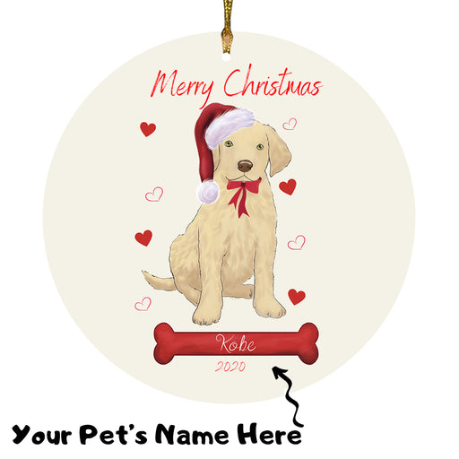 Personalized Merry Christmas  Chesapeake Bay Retriever Dog Christmas Tree Round Flat Ornament RBPOR58939