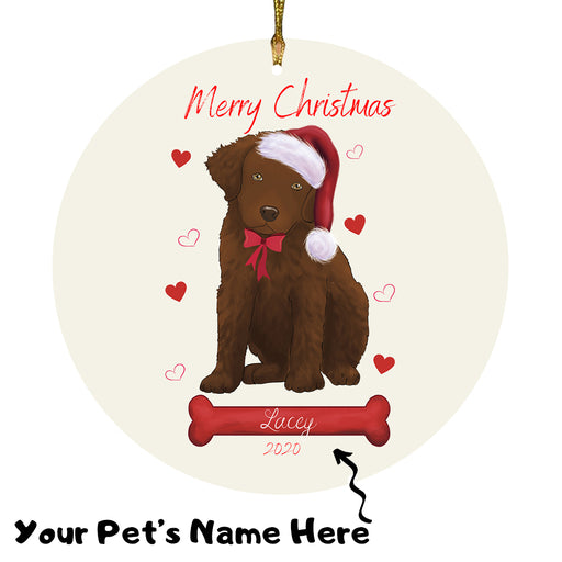 Personalized Merry Christmas  Chesapeake Bay Retriever Dog Christmas Tree Round Flat Ornament RBPOR58940