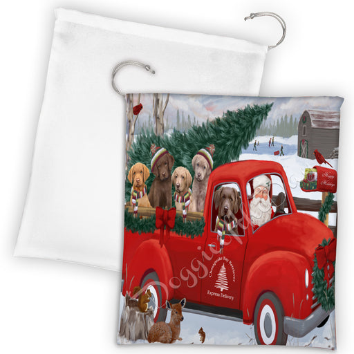 Christmas Santa Express Delivery Red Truck Chesapeake Bay Retriever Dogs Drawstring Laundry or Gift Bag LGB48295