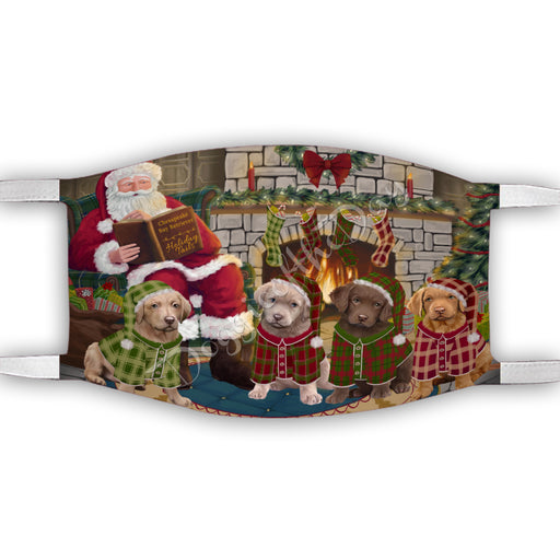 Christmas Cozy Holiday Fire Tails Chesapeake Bay Retriever Dogs Face Mask FM48622