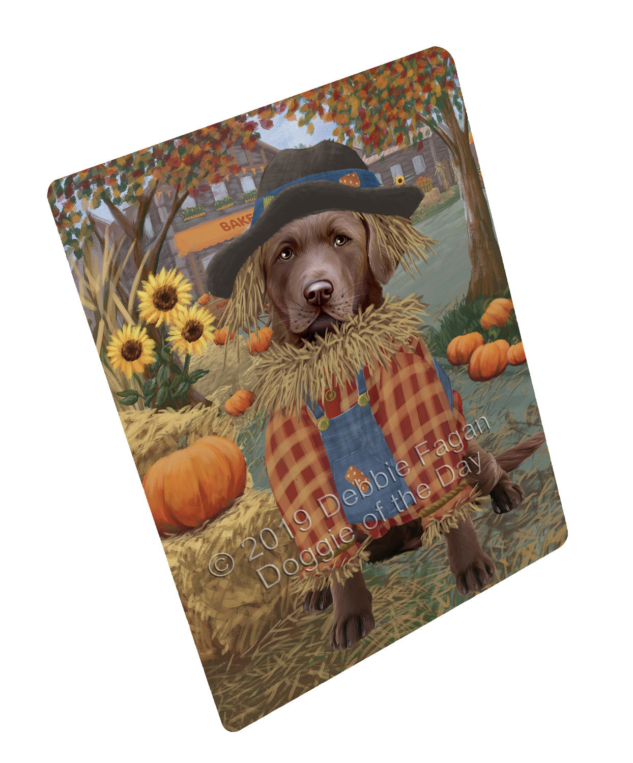 Halloween 'Round Town And Fall Pumpkin Scarecrow Both Chesapeake Bay Retriever Dogs Large Refrigerator / Dishwasher Magnet RMAG104718