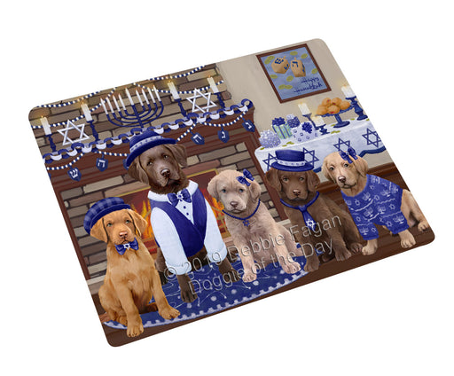 Happy Hanukkah Family and Happy Hanukkah Both Chesapeake Bay Retriever Dogs Large Refrigerator / Dishwasher Magnet RMAG105420