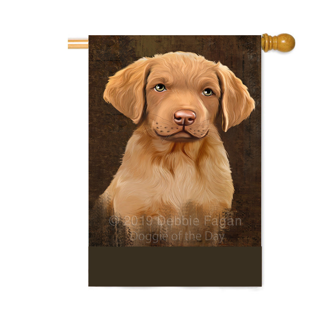 Personalized Rustic Chesapeake Bay Retriever Dog Custom House Flag FLG64557