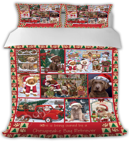 Love is Being Owned Christmas Chesapeake Bay Retriever Dogs Bed Duvet Cover DVTCVR48896