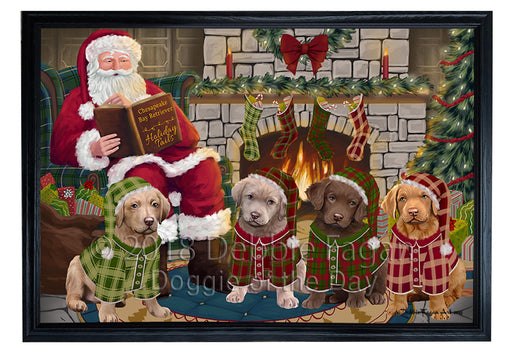 Christmas Cozy Holiday Tails Chesapeake Bay Retrievers Dog Framed Canvas Print Wall Art FCVS174004