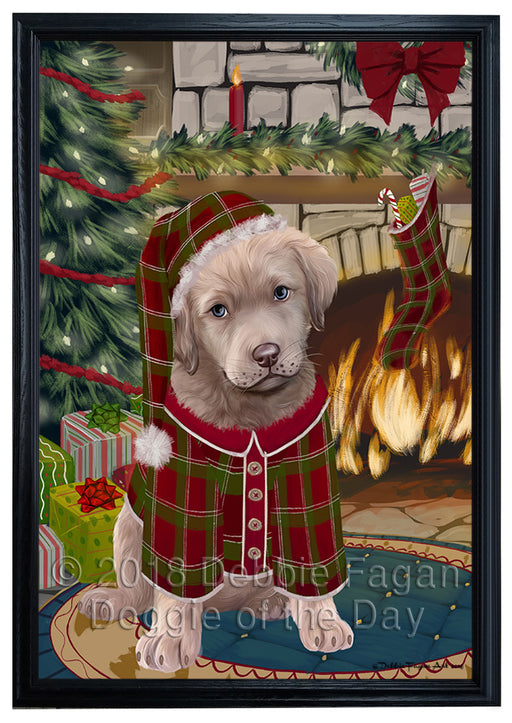 The Stocking was Hung Chesapeake Bay Retriever Dog Framed Canvas Print Wall Art FCVS176605