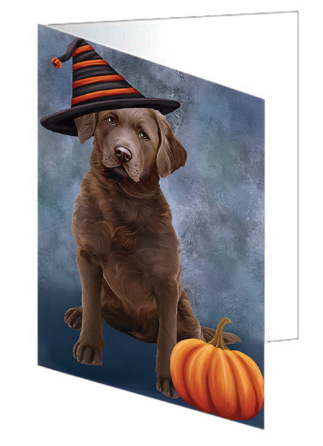 Happy Halloween Chesapeake Bay Retriever Dog Wearing Witch Hat with Pumpkin Note Card NCD68798