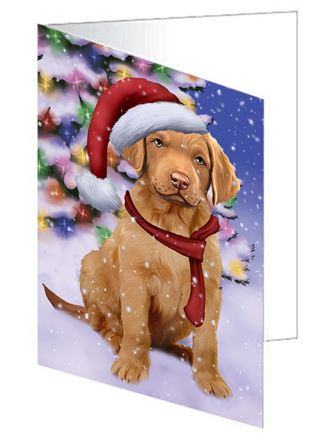 Winterland Wonderland Chesapeake Bay Retriever Dog In Christmas Holiday Scenic Background  Greeting Card GCD64166