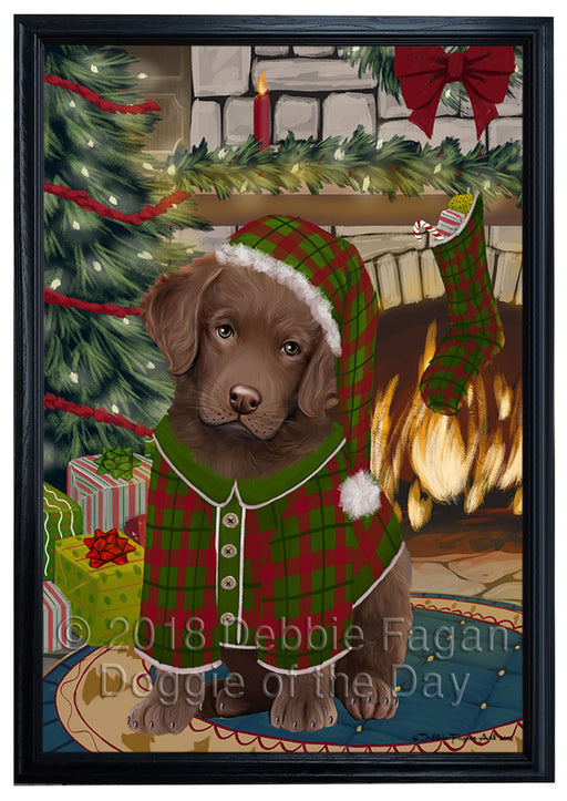The Stocking was Hung Chesapeake Bay Retriever Dog Framed Canvas Print Wall Art FCVS176622