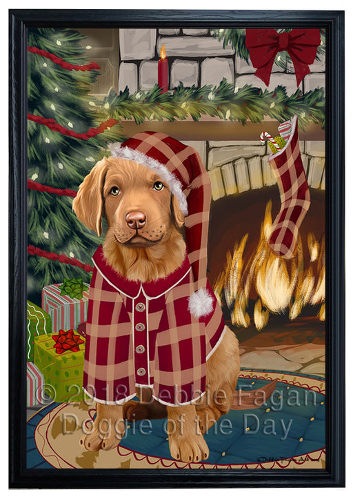 The Stocking was Hung Chesapeake Bay Retriever Dog Framed Canvas Print Wall Art FCVS176639