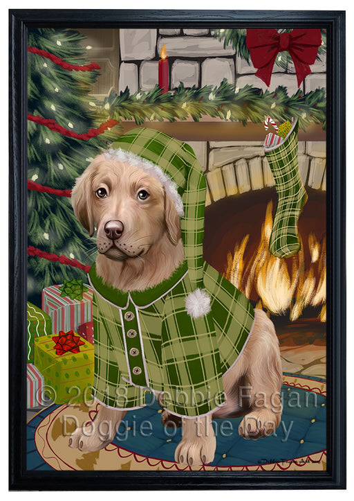 The Stocking was Hung Chesapeake Bay Retriever Dog Framed Canvas Print Wall Art FCVS176656