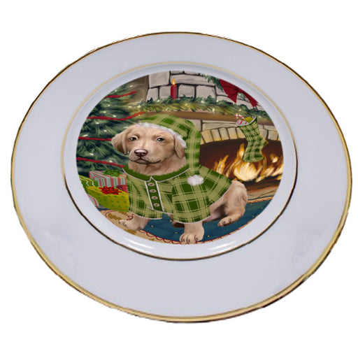 The Stocking was Hung Chesapeake Bay Retriever Dog Porcelain Plate PLT53620