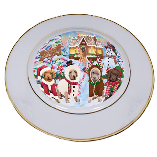 Holiday Gingerbread Cookie Shop Chesapeake Bay Retrievers Dog Porcelain Plate PLT54740