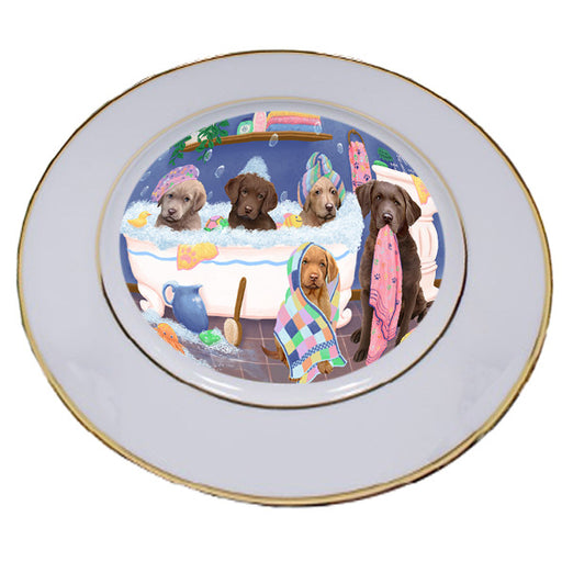 Rub A Dub Dogs In A Tub Chesapeake Bay Retrievers Dog Porcelain Plate PLT55128