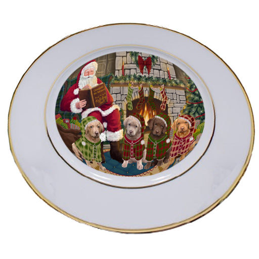 Christmas Cozy Holiday Tails Chesapeake Bay Retrievers Dog Porcelain Plate PLT53464