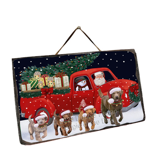 Christmas Express Delivery Red Truck Running Chesapeake Bay Retriever Dogs Wall Décor Hanging Photo Slate SLTH58148