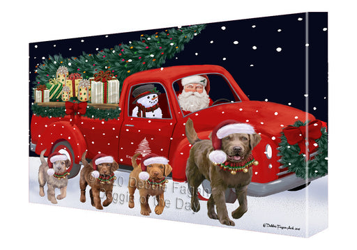 Christmas Express Delivery Red Truck Running Chesapeake Bay Retriever Dogs Canvas Print Wall Art Décor CVS145979