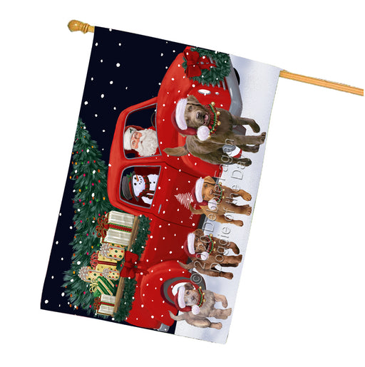 Christmas Express Delivery Red Truck Running Chesapeake Bay Retriever Dogs House Flag FLG66509