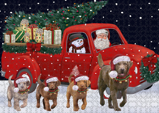 Christmas Express Delivery Red Truck Running Chesapeake Bay Retriever Dogs Puzzle with Photo Tin PUZL99652