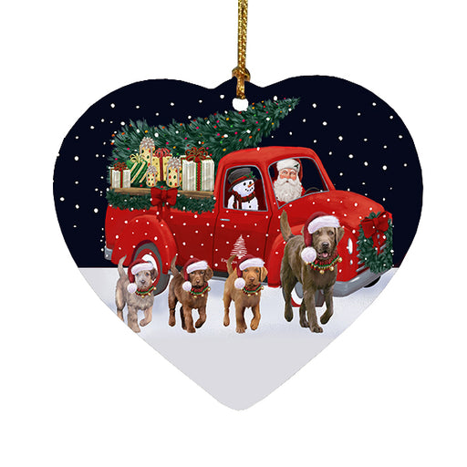 Christmas Express Delivery Red Truck Running Chesapeake Bay Retriever Dogs Heart Christmas Ornament RFPOR58080