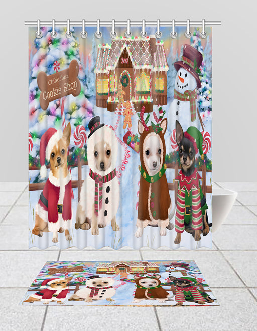 Holiday Gingerbread Cookie Chihuahua Dogs  Bath Mat and Shower Curtain Combo