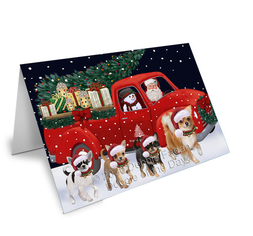Christmas Express Delivery Red Truck Running Chihuahua Dogs Greeting Card GCD75104