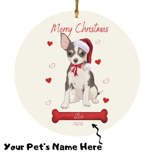 Personalized Merry Christmas  Chihuahua Dog Christmas Tree Round Flat Ornament RBPOR58941