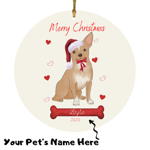 Personalized Merry Christmas  Chihuahua Dog Christmas Tree Round Flat Ornament RBPOR58942