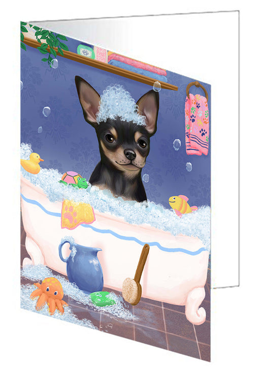 Rub A Dub Dog In A Tub Chihuahua Dog Greeting Card GCD79340