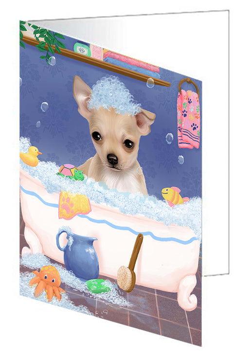Rub A Dub Dog In A Tub Chihuahua Dog Greeting Card GCD79343