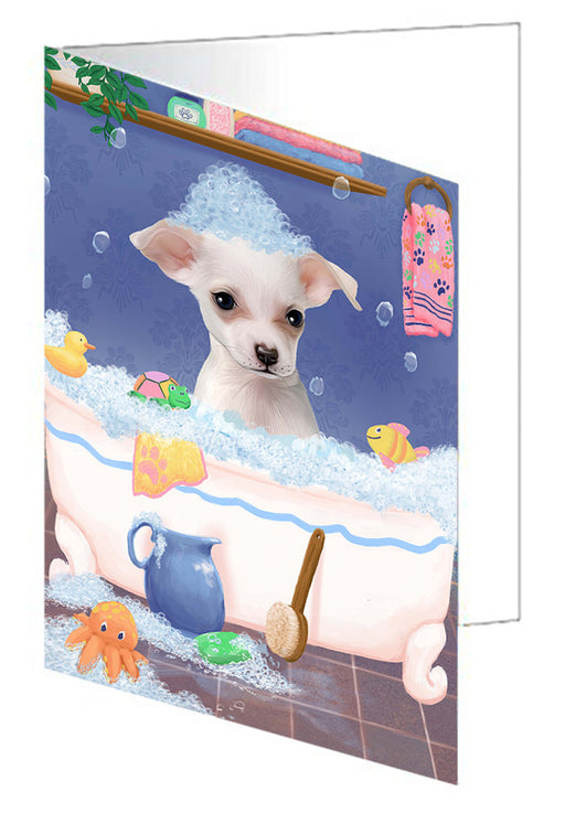Rub A Dub Dog In A Tub Chihuahua Dog Greeting Card GCD79346