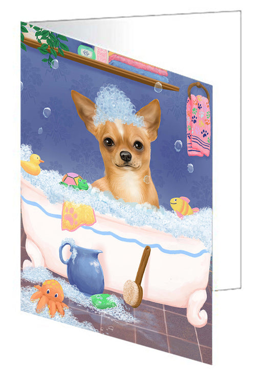 Rub A Dub Dog In A Tub Chihuahua Dog Greeting Card GCD79349