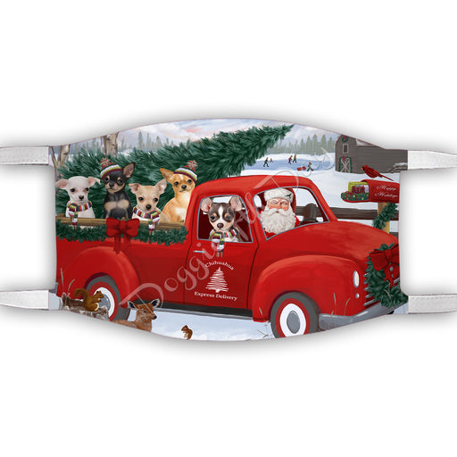 Christmas Santa Express Delivery Red Truck Chihuahua Dogs Face Mask FM48429