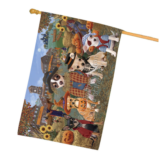 Halloween Round Town And Fall Pumpking Scarecrow Both Chihuahua Dogs Garden Flag GFLG65588