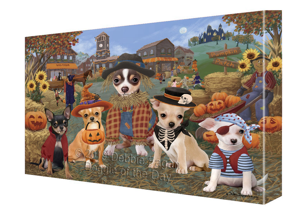 Halloween 'Round Town And Fall Pumpkin Scarecrow Both Chihuahua Dogs Canvas Print Wall Art Décor CVS139481