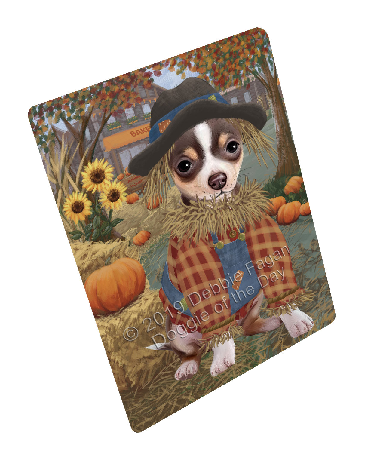 Halloween 'Round Town And Fall Pumpkin Scarecrow Both Chihuahua Dogs Large Refrigerator / Dishwasher Magnet RMAG104724