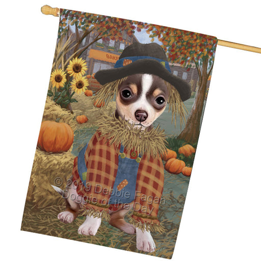 Halloween Round Town And Fall Pumpking Scarecrow Both Chihuahua Dogs Garden Flag GFLG65649