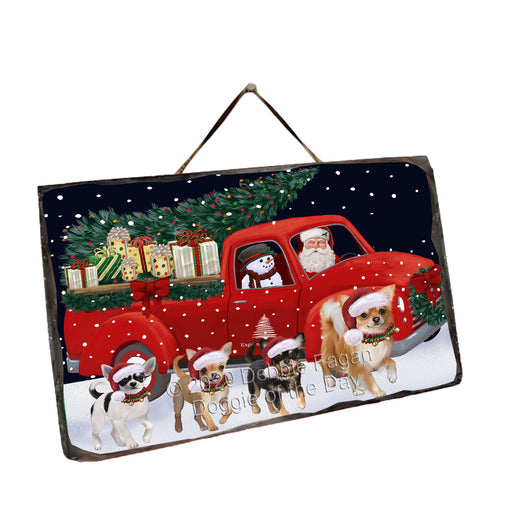 Christmas Express Delivery Red Truck Running Chihuahua Dogs Wall Décor Hanging Photo Slate SLTH58149