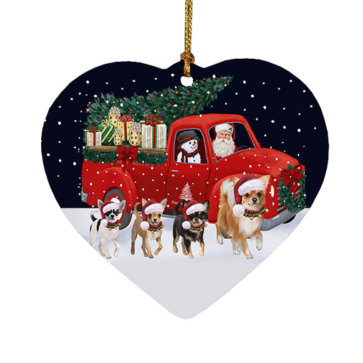 Christmas Express Delivery Red Truck Running Chihuahua Dogs Heart Christmas Ornament RFPOR58081