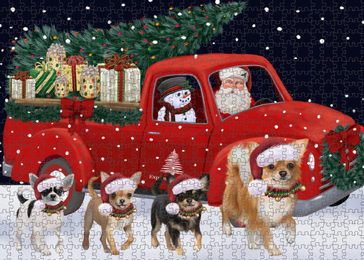 Christmas Express Delivery Red Truck Running Chihuahua Dogs Puzzle with Photo Tin PUZL99656