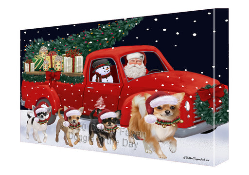 Christmas Express Delivery Red Truck Running Chihuahua Dogs Canvas Print Wall Art Décor CVS145988