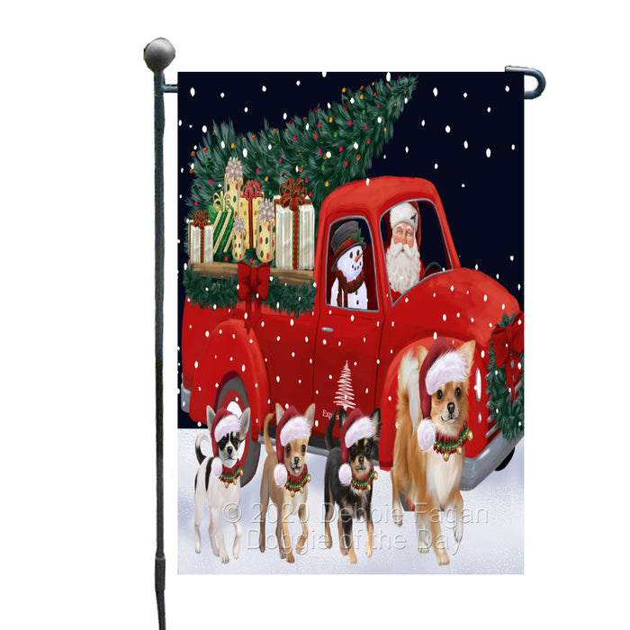 Christmas Express Delivery Red Truck Running Chihuahua Dogs Garden Flag GFLG66454