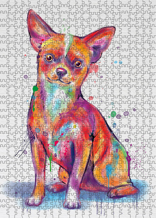 Watercolor Chihuahua Dog Puzzle with Photo Tin PUZL97132