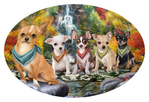 Scenic Waterfall Chihuahuas Dog Oval Envelope Seals OVE63412