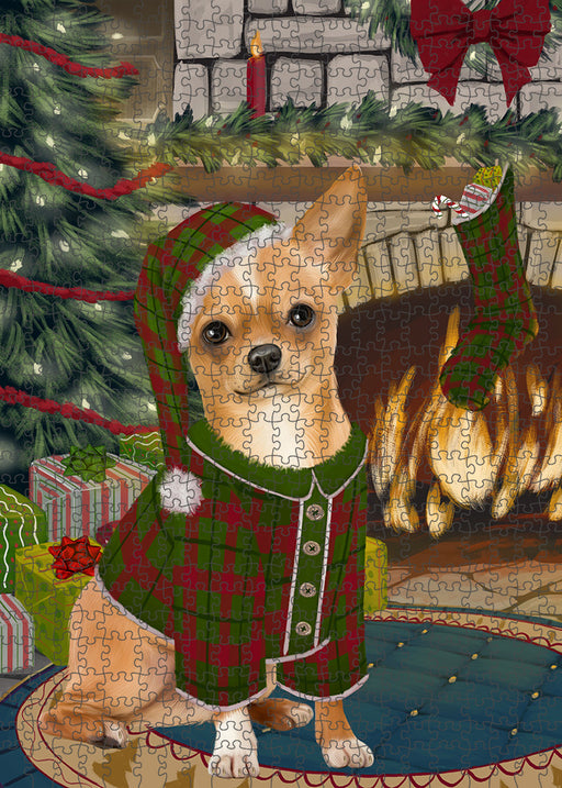 The Stocking was Hung Chihuahua Dog Puzzle with Photo Tin PUZL89296