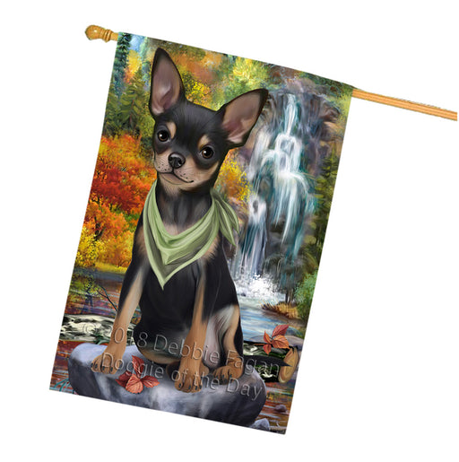 Scenic Waterfall Chihuahua Dog House Flag FLG51988