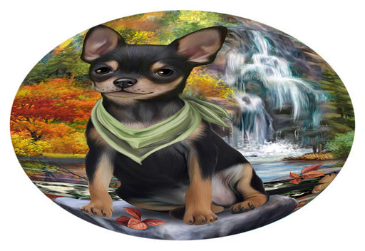 Scenic Waterfall Chihuahua Dog Oval Envelope Seals OVE63416
