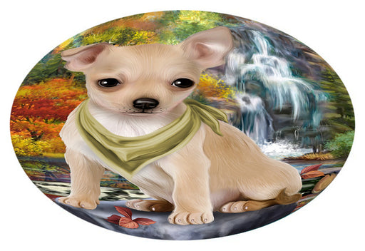 Scenic Waterfall Chihuahua Dog Oval Envelope Seals OVE63420